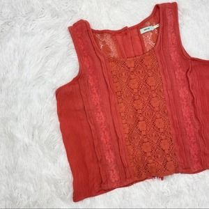 Urban Outfitters Pink Lace Cropped Button Down Top